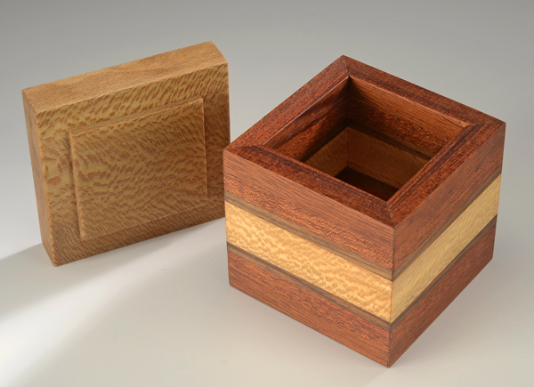 A Cube Box with Lid and Interior Detail